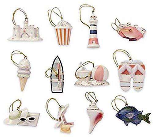 Lenox Summer Miniature Tree Ornaments Set of 12 Sea Shell Fish Sand Castle Boat Beach Ball NO Tree