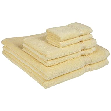 Superior Luxurious Soft Hotel & Spa Quality 6-Piece Towel Set, Made of 100% Premium Long-Staple Combed Cotton - 2 Washcloths, 2 Hand Towels, and 2 Bath Towels, Canary