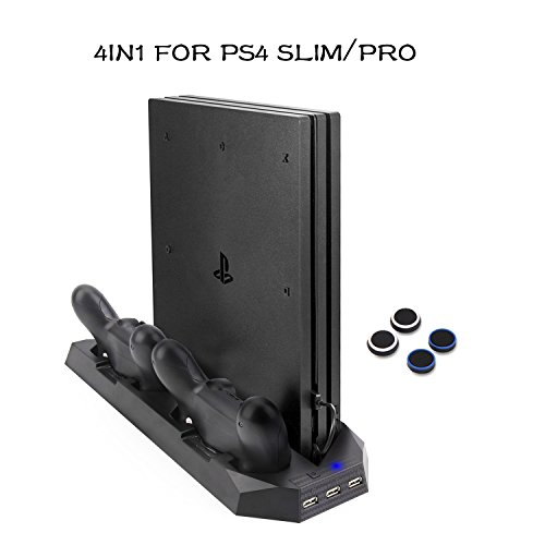 PS4 Slim/PS4 Pro Vertical Stand Charger with Cooling Fans Dual Controllers Charging Station, USB HUB for Sony PlayStation 4 Slim/Pro Game Console Dualshock4 BEDEE Upgraded (Not for Regular - Desktop Mouse Sony