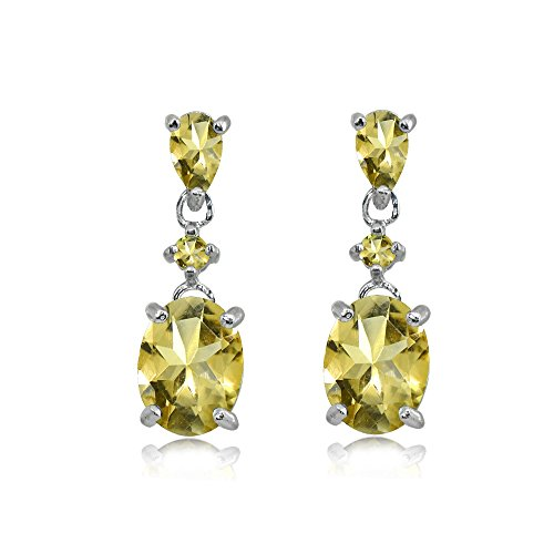 Sterling Silver Citrine Oval Three Stone Dangling Stud -