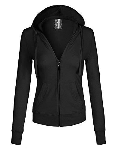 Women's Basic Solid Zip Up Hoodie Jacket Medium YJH0001_Black (Basic Women Jacket Hoodie)