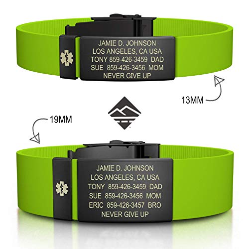 Road ID Personalized Medical ID Bracelet - Official ID Wristband with Medical Alert Badge - Silicone Clasp (Med Id Bracelet)