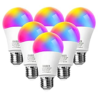 OHLUX Smart WiFi LED Light Bulbs Compatible with Alexa and Google Home (No Hub Required), RGBCW Multi-Color, Warm to Cool White Dimmable, 60W Equivalent, 7W E26 A19 Color Changing Bulb-6PACK