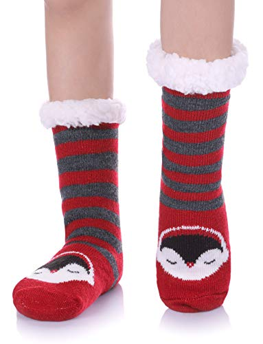 - NOVCO Boys Girls Slipper Socks Fuzzy Soft Warm Fleece lined Kids Toddler Winter Socks for Christmas (Red Penguin, 17CM/5-6 years)