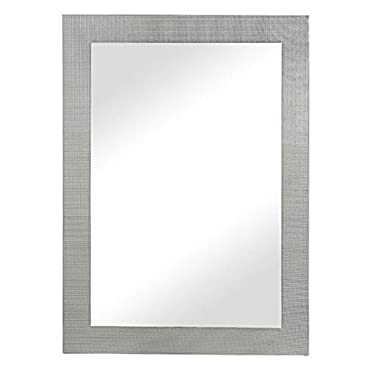 Majestic 26 x 36 Contemporary Rectangular Silver Tile Glass Accent Wall Mirror
