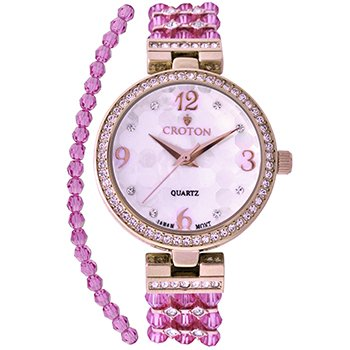 CROTON Women's Swarovski Bead Quartz Watch with Brass Strap, Purple, 13 (Model: CN207563RGPP) Croton Womens Mother Of Pearl