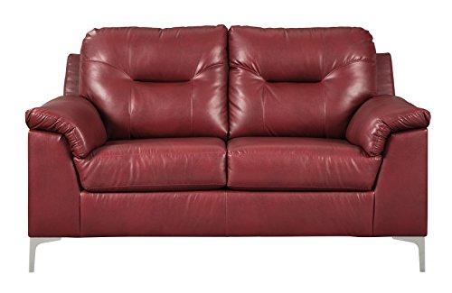 Ashley Furniture Signature Design - Tensas Contemporary Upholstered Loveseat - Crimson Red