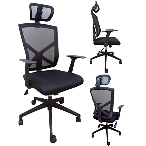 2xhome High Back with Headrest Chair Office Mesh Chair Tilt Arms Lumber Support Large Base Adjustable Swivel Task Executive For Sale