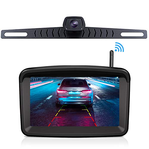 "Xroose Wireless Backup Camera and Monitor Kit 5"" HD Screen License Plate Camera with Frame IP69K Waterproof Rear View Camera with Parking Lines 152° Viewing Angle"
