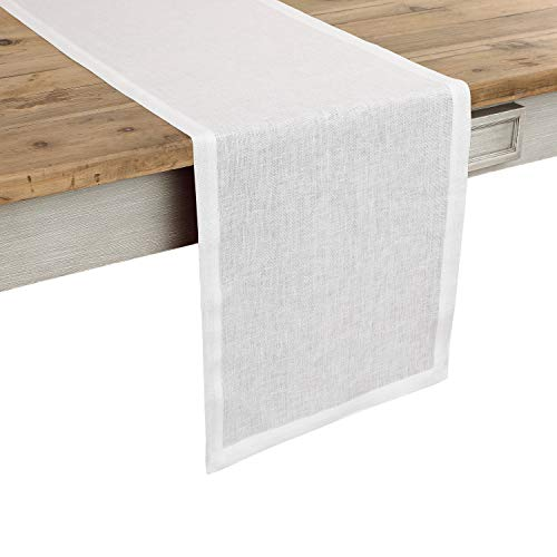 Solino Home 100% Pure Linen Table Runner Athena, Natural Fabric Handcrafted Runner, White 14 x 36 Inch ()