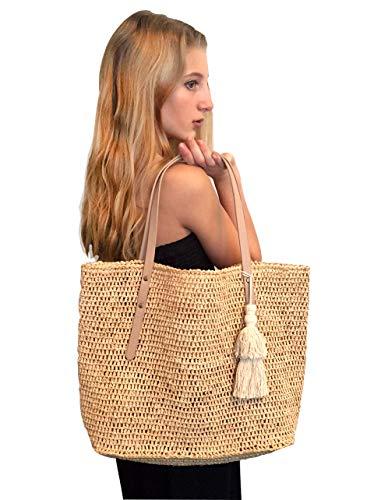 Natural Raffia Straw Tote Leather Shoulder Bag Womens (Natural/Natural)