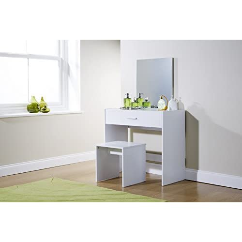Home Source Julia Dressing Table Set 3 Colours With Stool And Mirror (White)