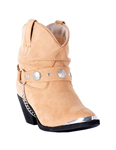 Dingo Women's Concho Strap Slouch Ankle Boot Pointed Toe Tan 9.5 M