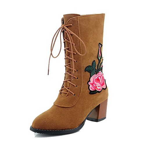 AgooLar Women's Round-Toe Kitten-Heels Lace-up Solid Boots Yellow A5g6gCBXt