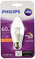 Philips 458620 Equivalent Dimmable F15 Decorative Candle LED Light Bulb with Warm Glow Effect, 60W