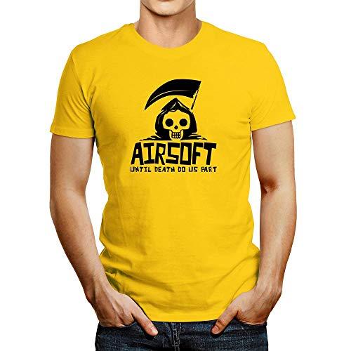 Idakoos Airsoft Until Death Separate US T-Shirt Yellow