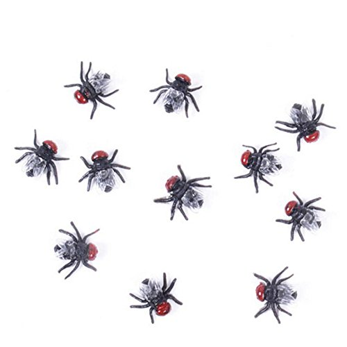 20 Pcs Novelty Lifelike Plastic Fake Fly Kidding Prank Fly Bugs Realistic Insects Gag Joke Gifts for April Fool Halloween and Party Prop