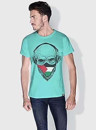 Creo Palestine Skull T-Shirts For Men - L, Green