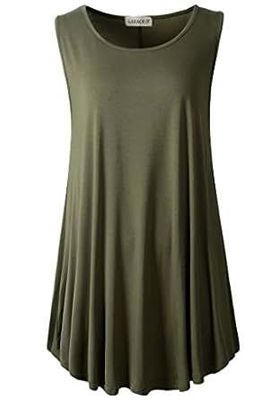 LARACE Women's Solid Sleeveless Tunic for Leggings Swing Flare Tank Tops(S, Army Green)AU