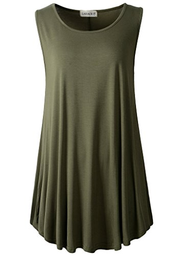 (LARACE Women Solid Sleeveless Tunic for Leggings Swing Flare Tank Tops (M, Army)