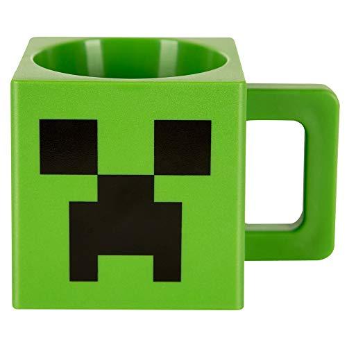 JINX Minecraft Creeper Face Square Plastic Mug, Green, 9.8 ounces