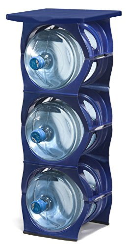 U Water Cooler Bottle Rack (Blue, Three Bottle Rack with Shelf) (Stack Water)