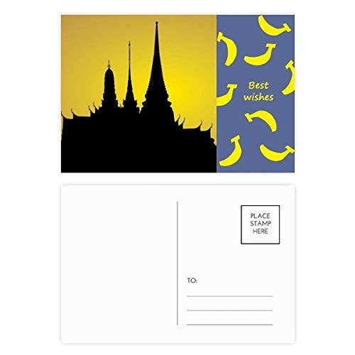 Thai Banana Paper - Thai Customs Culture Shadow Temple Banana Postcard Set Thanks Card Mailing Side 20pcs