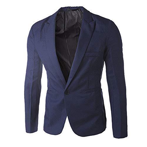 IAMUP Charm Men's Casual Slim Fit Tops One Button Suit Fashion Design Blazer Coat Jacket Tops Men Fashion Blouse Coat Navy