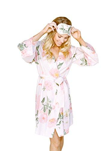 (Knee Length Kimono Robe. Persimmon Hears Her Wish (X-Large) Light Pink)