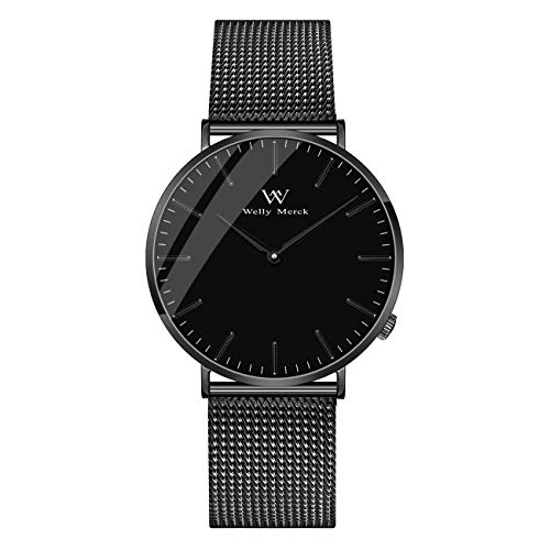 Welly Merck Men's Luxury Watches Minimalist 42MM Swiss Quartz Movement Sapphire Crystal Analog Wrist Watch with Black Stainless Steel 20mm Mesh Interchangeable Strap, 5ATM Water Resistant