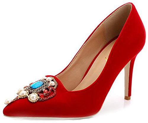 Court Aisun Top Toe Shoes Rhinestones Women's Low Red Slip Pointed Stiletto High Heels On 1nPr1xwq
