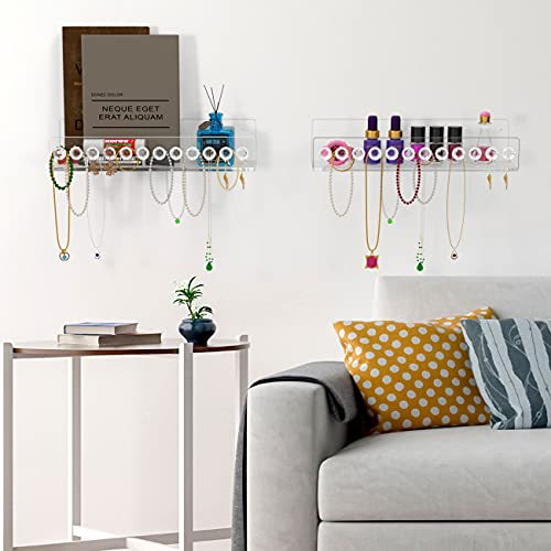 Wall Mounted Jewelry Organizer, Carmanon Jewelry Hanger with Shelf, Necklaces Holder Organizer with 12 Diamond Hooks, Acrylic Jewelry Holder Storage Display for Necklaces, Bracelets, Earrings, Ring