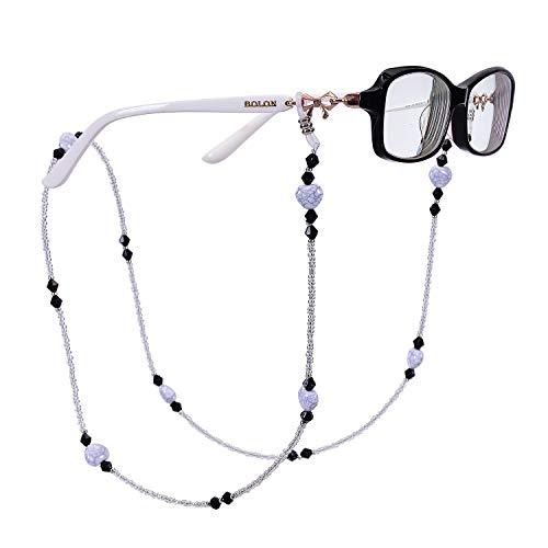 RANHUU Eyeglass Chains for Women Reading Glasses Cords Colourful Sunglasses Chain Holder Lanyards Eyewear Retainer (Black)