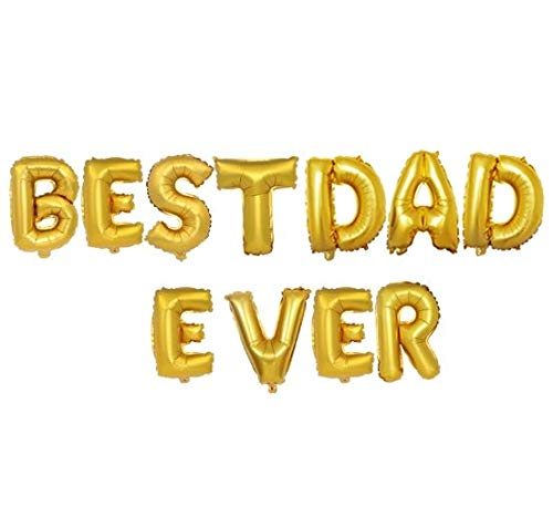 Best Dad Ever Aluminum Foil Balloon Set 16 Inches Letter Balloon Decoration for Farther's Day Party ()