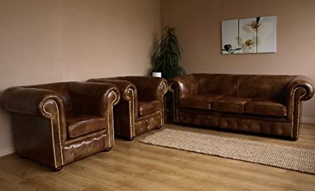 Marvelous Brown Leather Chesterfield Sofa Two Matching Club Chairs Evergreenethics Interior Chair Design Evergreenethicsorg