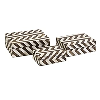 CC Home Furnishings Set of 3 White Bone Inlay & Brown Chevron Pattern Decorative Storage Boxes 8.5""