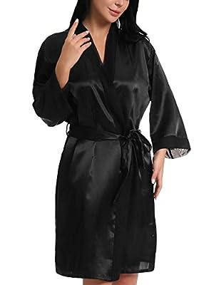 FasiCat Women Sexy Bathrobes Satin Kimono Robes Bridal Dressing Gown Silky Wedding Bridesmaid Sleepwear