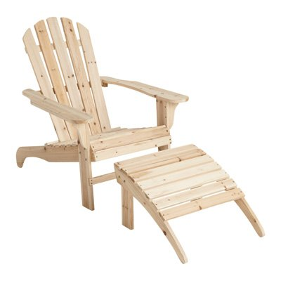 Solid Cedar/Fir Wooden Outdoor Chair And Ottoman Set