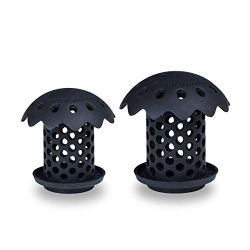 UKYLIN 2 Pack Bathtub/Sink Drain Hair Catcher Protector Strainer,FDA Grade Silicone Bathroom Sink Stopper Sizes 1.5''/1.75''Black (Black)