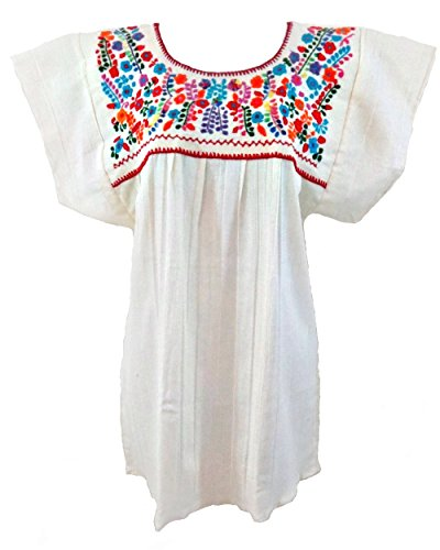 - Mexican Blouse Campesina Floral (Large, Off White)
