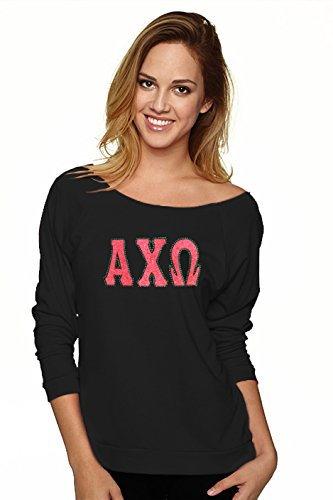 Navika Alpha Chi Omega Greek Letter Glitter & Bling Long Sleeve Slouchy Pullover Shirt- Medium