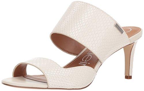 Calvin Klein Women's Clementine Heeled Sandal, Soft White Snake, 7 M US