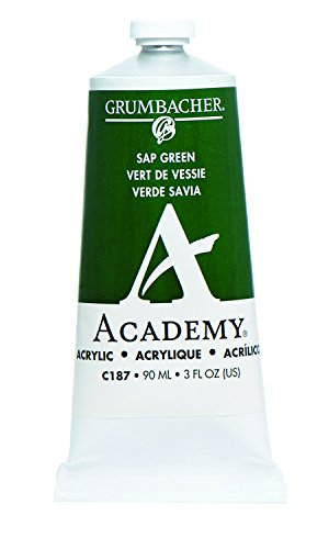 Grumbacher Academy Acrylic Paint, 90ml/3 oz Metal Tube, Sap Green