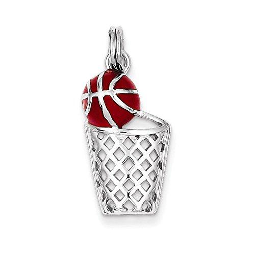 Sterling Silver Rhodium-platedEnamel Basketball & Hoop Charm (Bracelet Sterling Basketballs Silver)