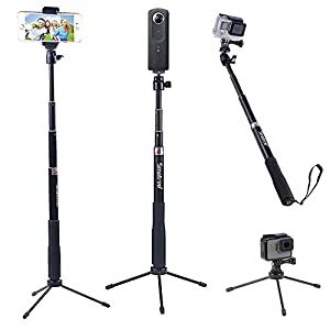 Smatree Q3 Telescoping Selfie Stick with Tripod Stand for GoPro Hero 6/5/4/3+/3/2/1/Session Cameras, Ricoh Theta S/V, M15 Cameras, Compact Cameras and Cell Phones