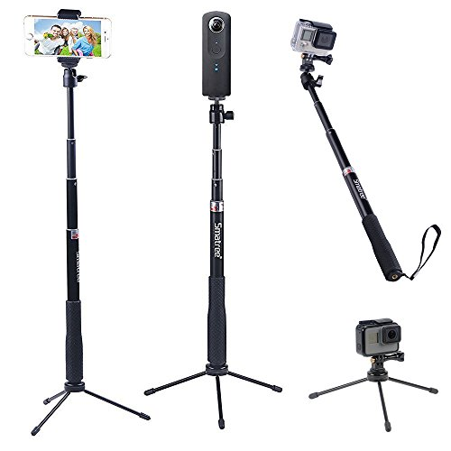 smatree smapole q3 telescoping selfie stick with tripod stand for gopro hero 6 5 4 3 3 2 1. Black Bedroom Furniture Sets. Home Design Ideas