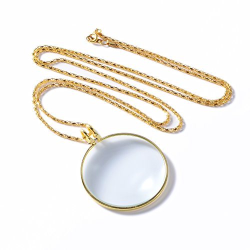 "XYK 5X Pendant Reading Magnifier Loupe,36"" Chain Best Necklace Map Magnifying Glass Golden Colour (1.7 Inches Glass Lens Dia.)"