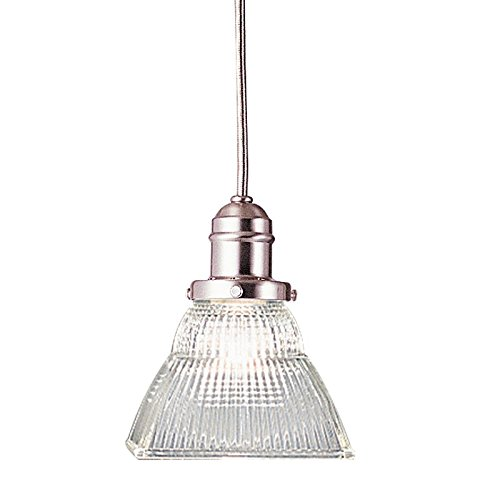 Clear Prismatic Fan Glass (Vintage Collection 1-Light Pendant - Satin Nickel Finish with Clear Prismatic Glass Shade)