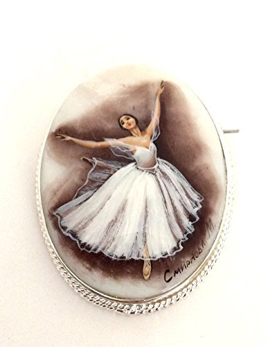 Russian Ballerina hand painted Pin / Brooch , Signed (Signed Ballerina)