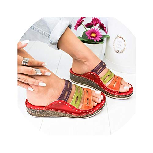 Summer Women Slippers Rome Retro Three Color Casual Shoes Thick Bottom Wedge Open Toe Sandals Beach Slip On Slides Female,red,42
